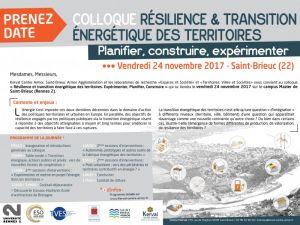 Colloque Résilience & transition des territoires. Planifier, construire, expérimenter